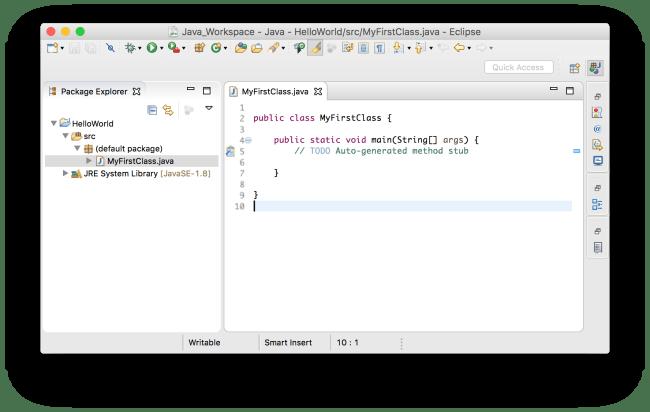 Tạo project Java - Lớp vừa được tạo