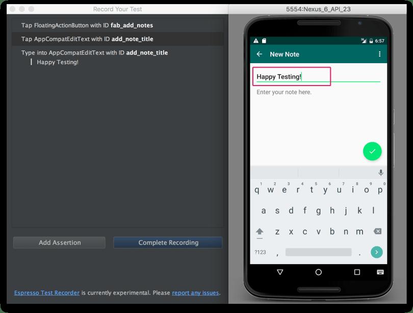 Android Studio - Espresso Test với các log