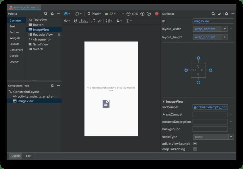 Tạo giao diện người dùng - Thêm vào một imageview