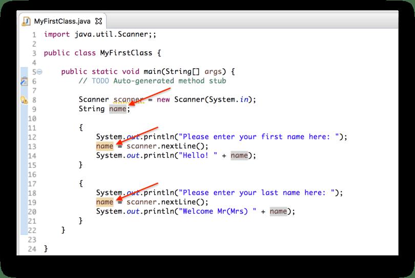 Ví dụ biến name là biến global của 2 khối lệnh con