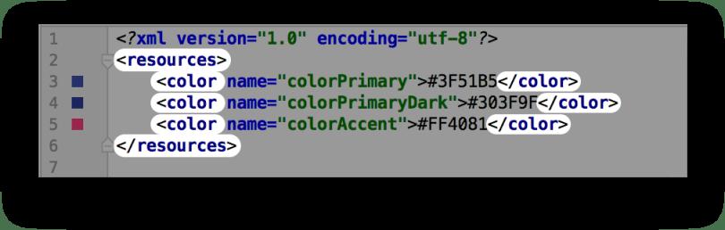 Cấu trúc các định nghĩa màu sắc