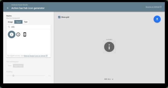 Navigation Drawer icon từ Android Asset Studio