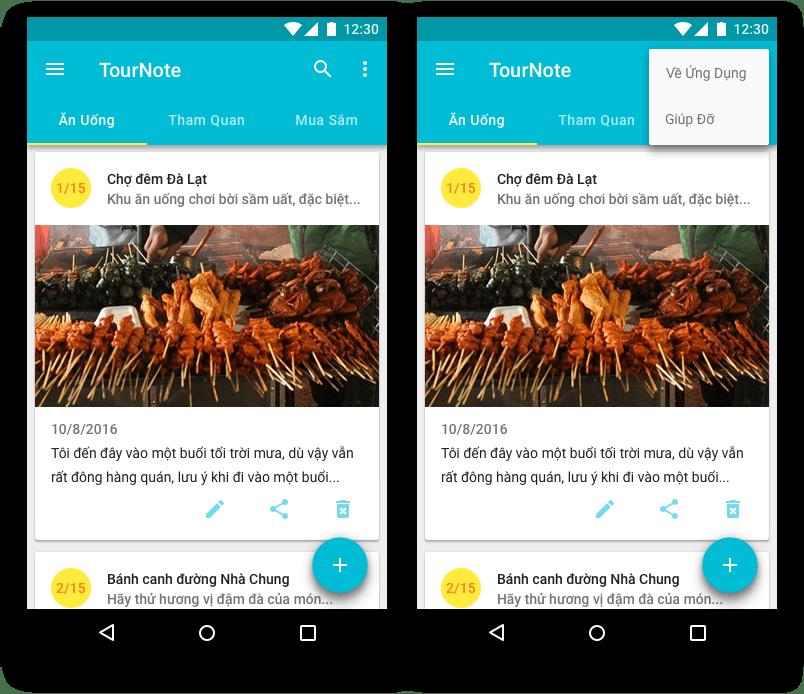 Thiết kế ActionBar của TourNote