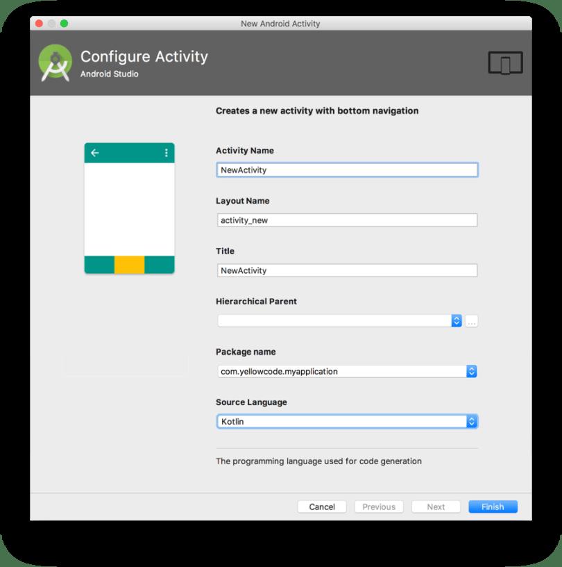 Android Studio 3.0 - Chọn ngôn ngữ Kotlin khi tạo mới Activity