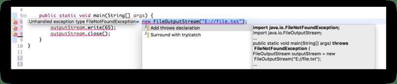 Thêm try catch thông qua hỗ trợ của Eclipse