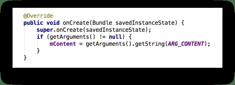 Ví dụ callback onCreate() của Fragment