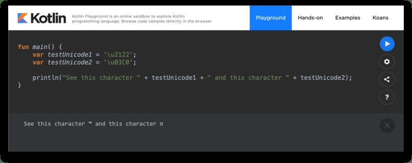 Các dòng code và kết quả thực thi trên Kotlin Playground
