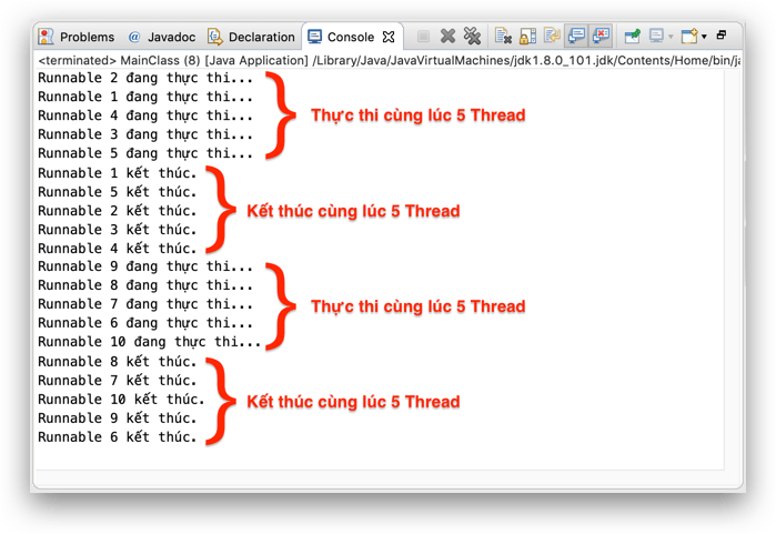 Kết quả in ra console của newFixedThreadPool()