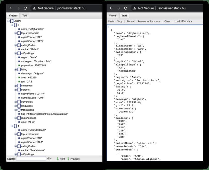 Xem kết quả JSON được format dễ xem hơn