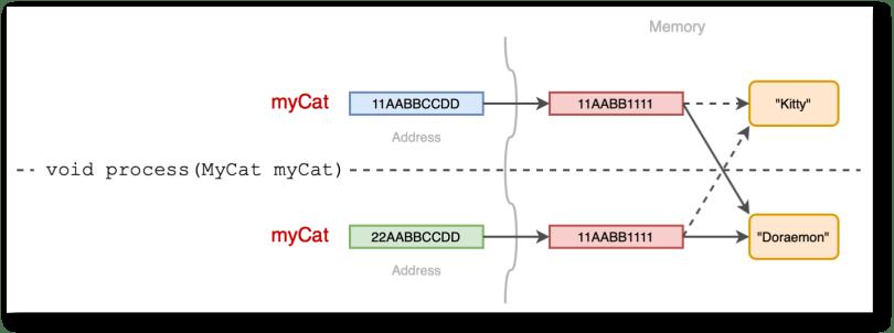 Sơ đồ diễn tả việc truyền tham số kiểu tham trị cho đối tượng myCat