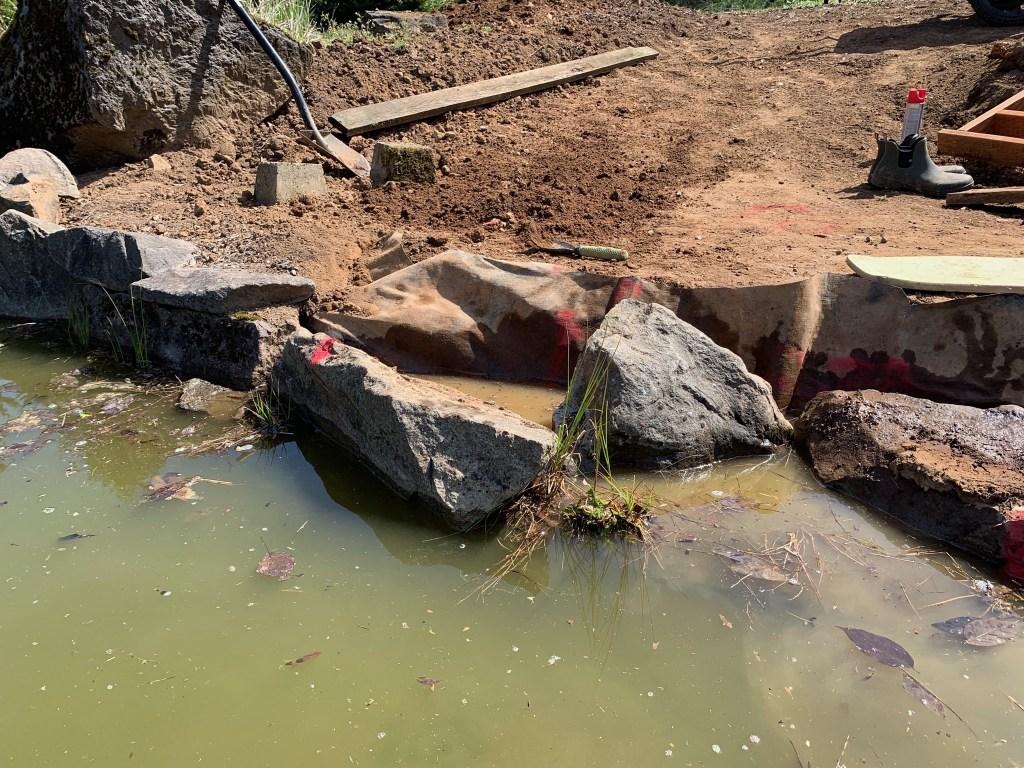Adjusting pond edge