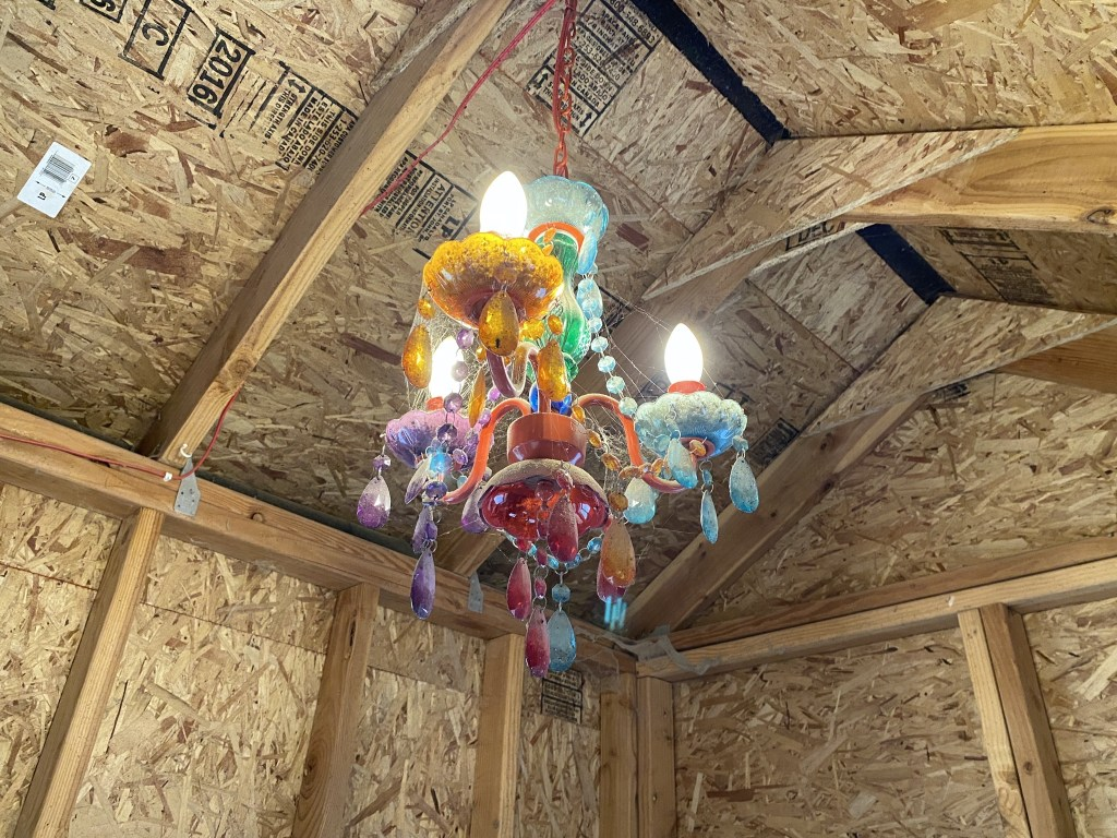 Chicken coop chandelier