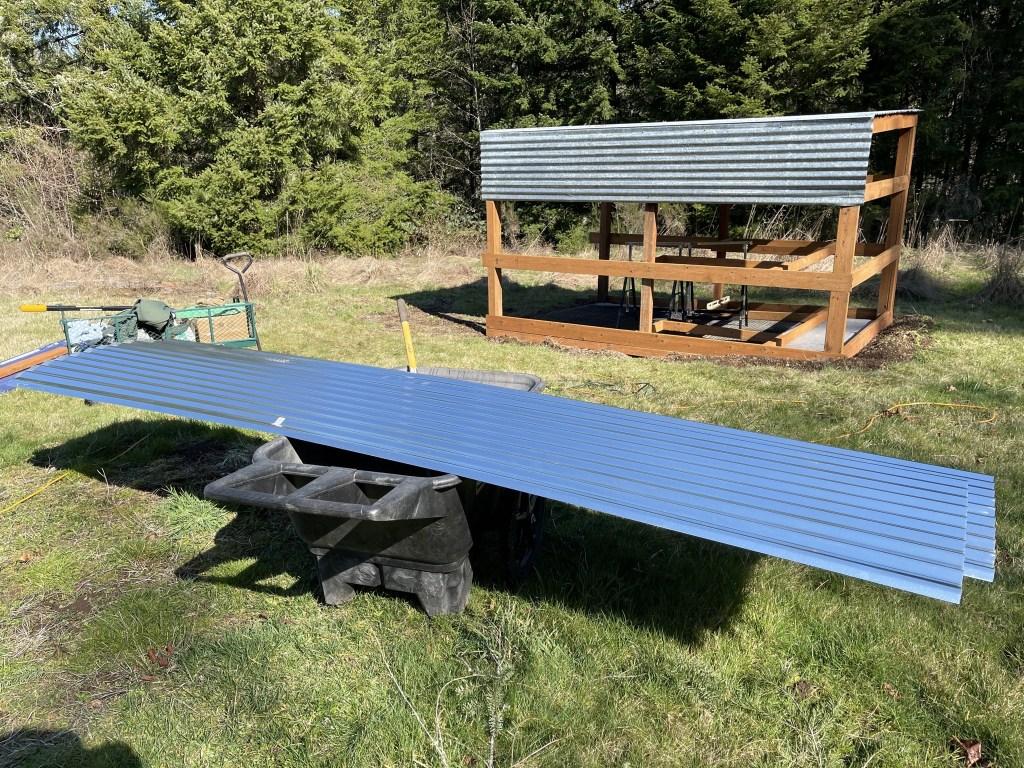 Bringing panels on a wheelbarrow