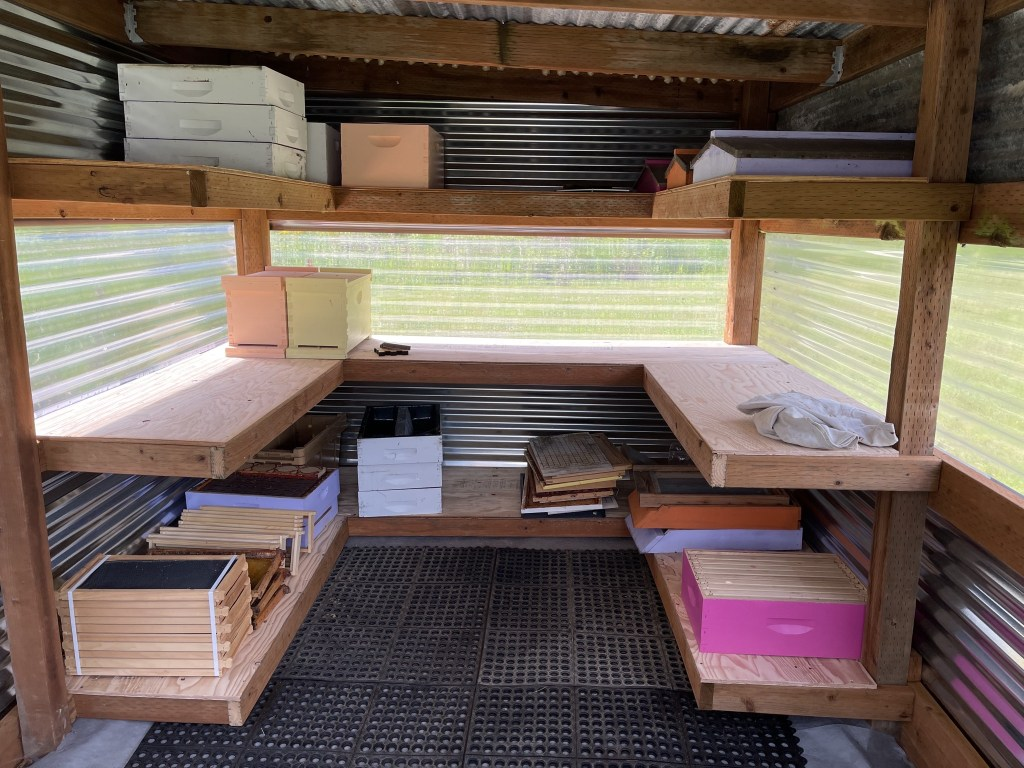 Beekeeping equipment in the bee shed