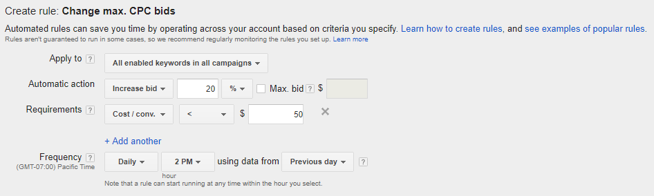 AdWords automated rules - conditional rules