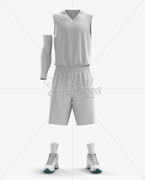 Download Full Basketball Kit w/ V-Neck Tank Top Mockup - Front View ...