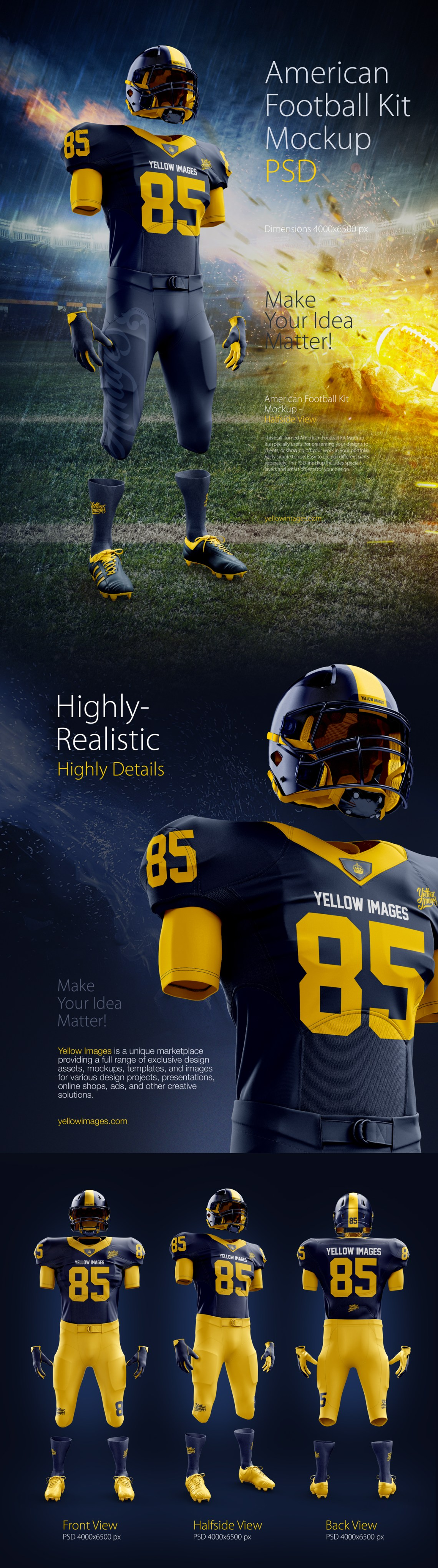 Download American Football Kit Mockup PSD in Apparel Mockups on ...