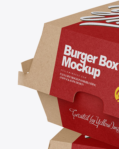 Download Two Kraft Burger Boxes Mockup - Half Side View in Box ...