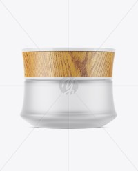 Frosted Glass Cosmetic Jar W/ Wooden Lid Mockup in Jar ...