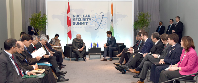 The Prime Minister, Mr. Narendra Modi meeting the Prime Minister of Canada, Mr. Justin Trudeau, on the sidelines of NSS2016, in Washington DC on April 01, 2016.