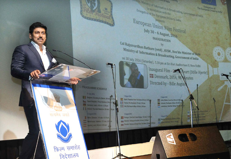 The Minister of State for Information & Broadcasting, Col. Rajyavardhan Singh Rathore addressing at the inauguration of the European Union Film Festival, in New Delhi on July 30, 2016.