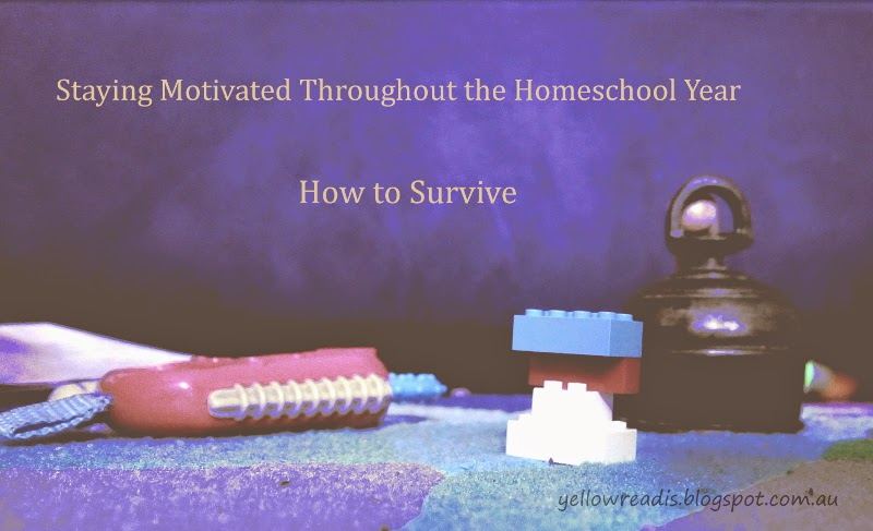 Staying Motivated Throughout the Homeschooling Year: How to Survive, yellowreadis.com Image: Toys and Bell on cloth