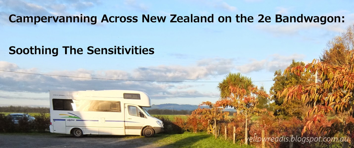 Campervanning Across New Zealand on the 2e Bandwagon: Soothing Sensitivities, yellowreadis.com. Image: Campervan in farmland with blue sky