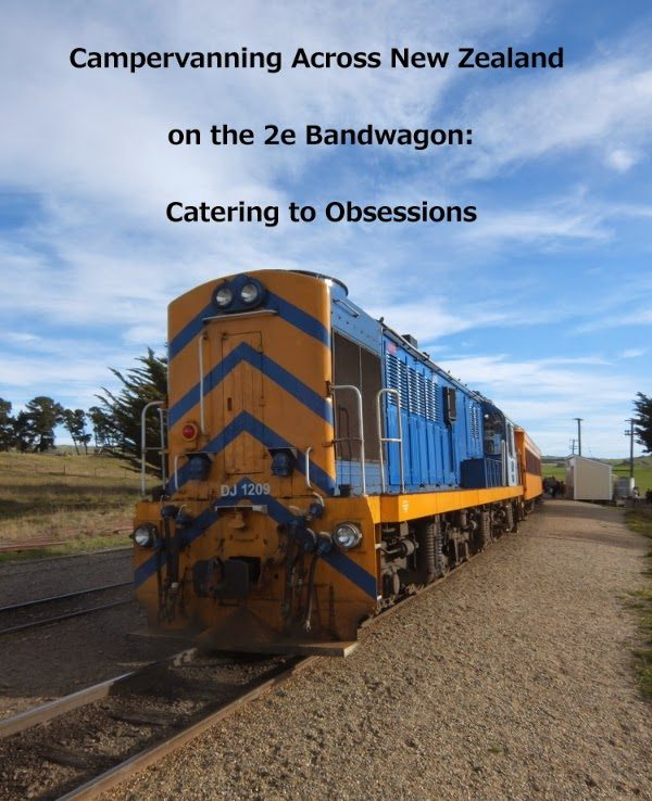 Campervanning Across NZ on the 2e Bandwagon: Catering to Obsessions, yellowreadis.com. Image: Blue and yellow diesel train