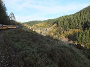 Taieri Gorge. Train crossing bridge over a gorge between hills with blue sky