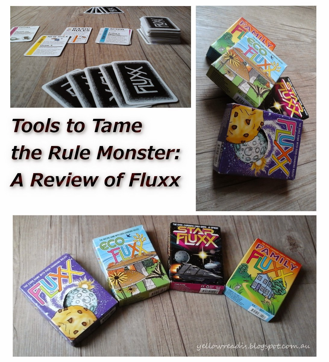 Tools to Tame the Rule Monster: A Review of Fluxx, yellowreadis.com IMages: A game of Fluxx being played, boxes of different versions of Fluxx