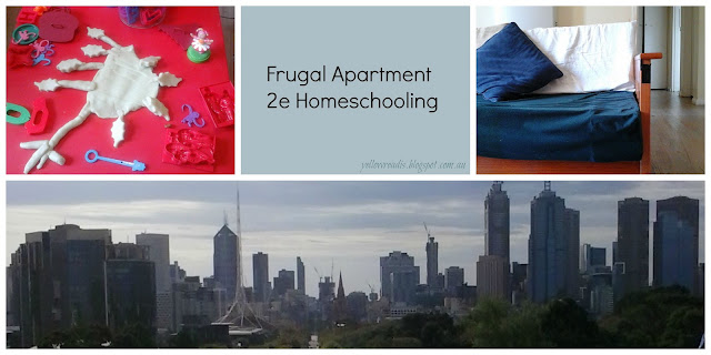 Frugal Apartment 2e Homeschooling, yellowreadis.com Images: Red table with playdough, Melbourne skyline, lounge