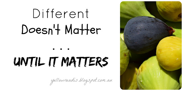 Different Doesn't Matter ... Until it Matters, yellowreadis.com, Image: Green figs in a pile with one purple fig.