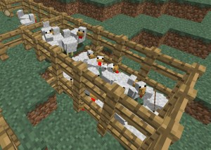 Minecraft chickens in a wooden pen with Minecraft grass background