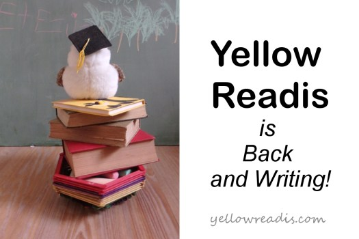 Yellow Readis Is Back and Writing | yellowreadis.com  Image: Toy owl on book stack staring at a blackboard