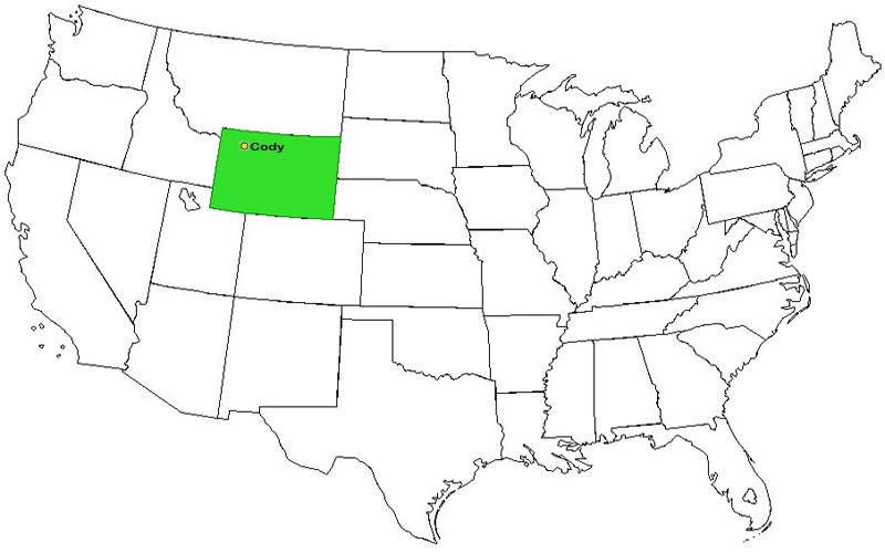 Cody Wyoming ~ USA and Wyoming Map