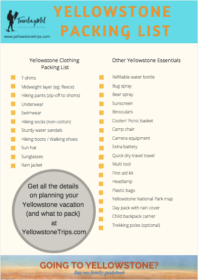 You can download this Yellowstone National Park packing list and get all the details about what to wear in Yellowstone in summer, and other Yellowstone packing essentials at www.yellowstonetrips.com.
