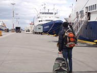 On our way to board the m/v Plancius docked in Ushuaia