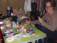 Preparing for our 3 day trek to see the ice field - this table has 3 day's worth of food laid out on it