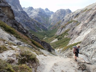 Our walking buddy for the day, Matt, considers the yet more descent ahead of us