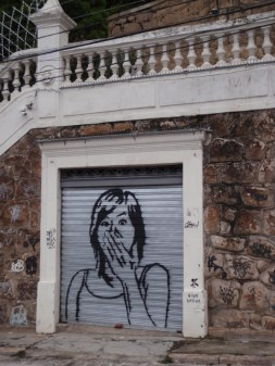 Enjoying the humorous graffiti