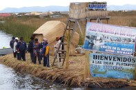 Arriving at the Uros' floating town
