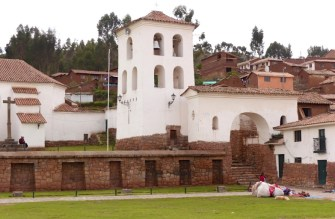 The old Spanish church of Chincero built on top of the Incan complex