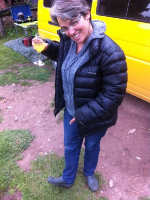 Becca proudly dons her wellie boot shoes for the first time