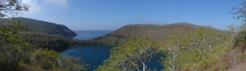 The salt-water filled crater above Targus Bay