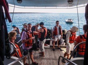 As soon as we were on board, we gathered on the dive deck at the back for a safety drill