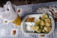 Typical condiments - we will miss the Peruvian limes...