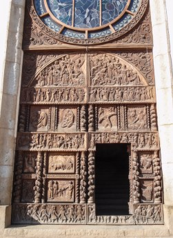 The beautiful carved doors of the church in Chacas