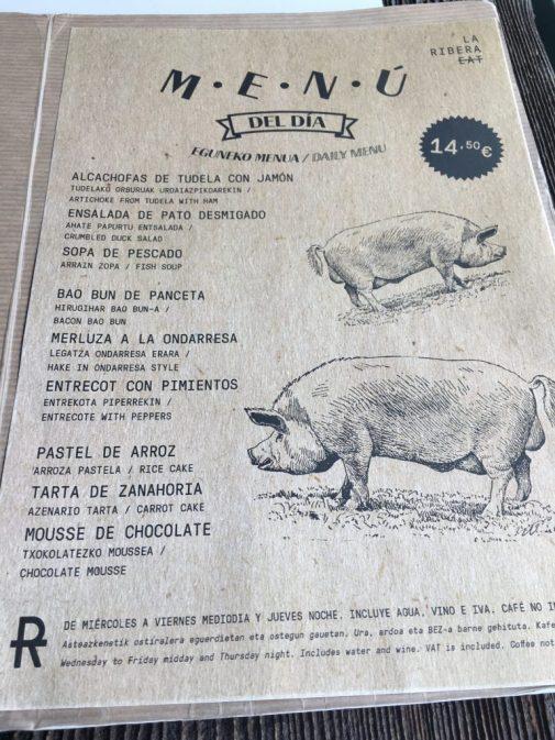 Menú del día del Restaurante La Ribera