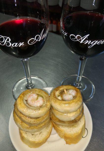 Copa de vino y Pincho de champiñones