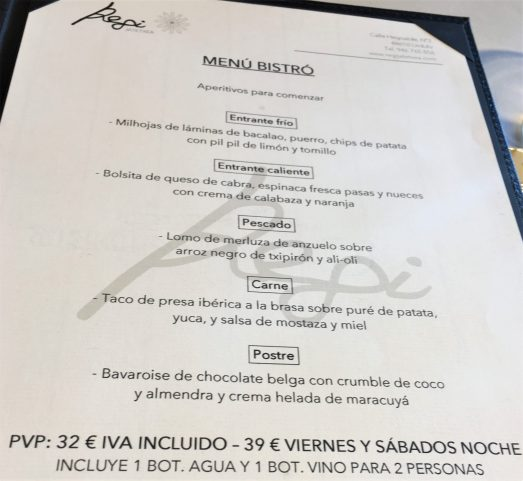 Menú Bistró del Regi Jatetxea en Urduliz